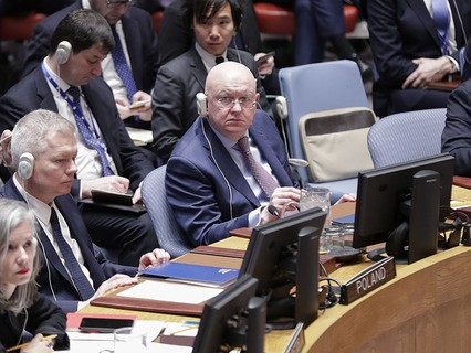 Постпред России при ООН Василий Небензя на заседании Совбеза ООН