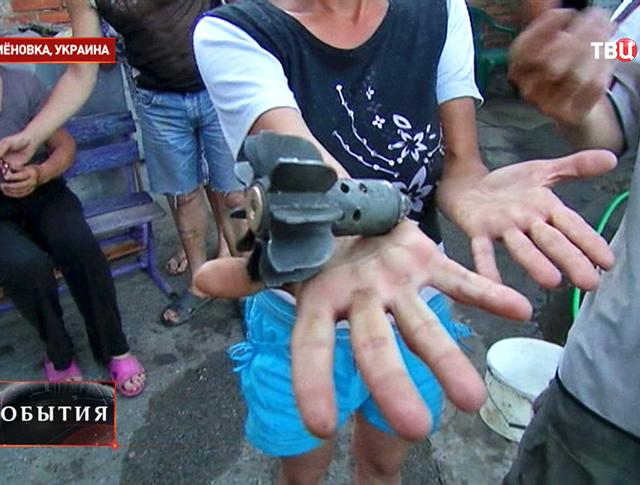 Последствия минометного обстрела поселка Семеновка