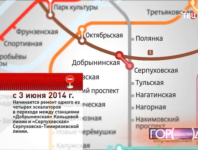 """Ремонт эскалатора в переходе между станциями """"Добрынинская"""" и Серпуховская"""
