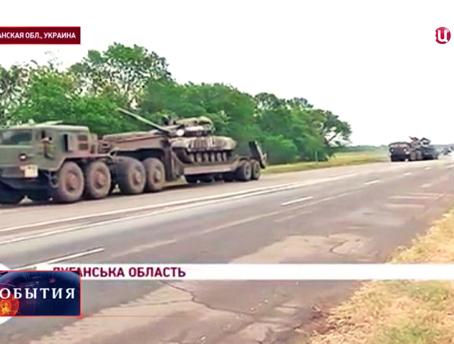 Транспортировка танков украинской армии в Луганской области