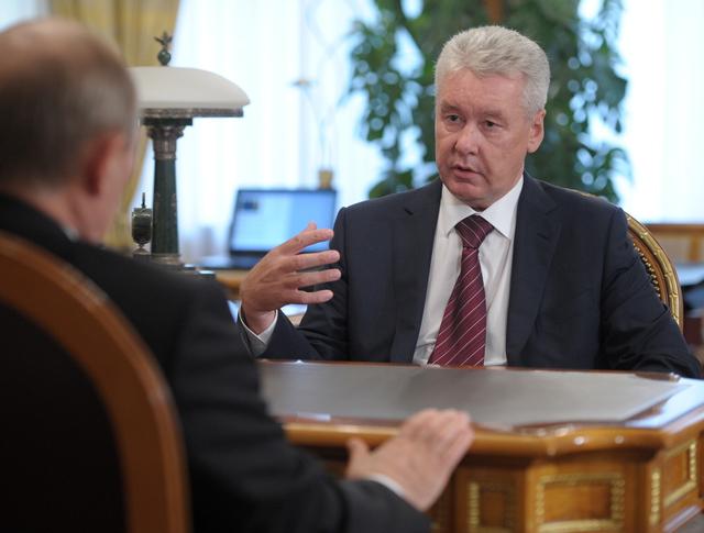 Мэр Москвы Сергей Собянин во время встречи с Владимиром Путиным