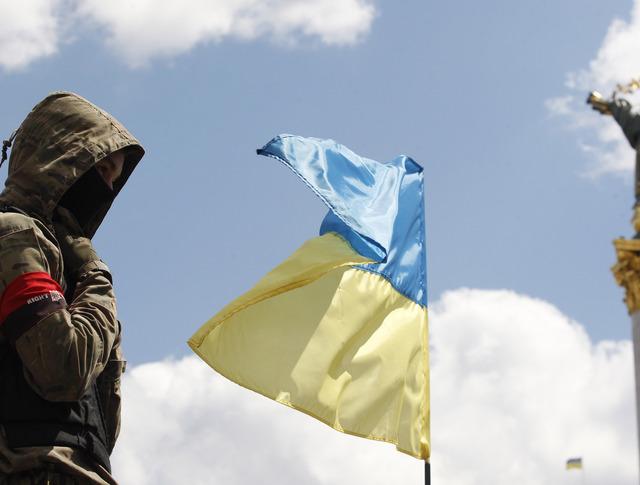 Участник народного вече на площади Независимости в Киеве