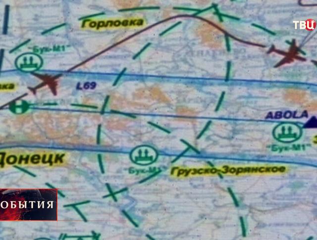 Карта полета Boeing над Донецкой областью