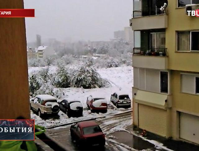 Мощный снегопад в Болгарии