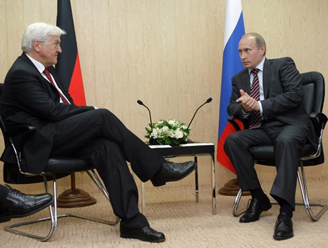 Президент России Владимир ПУтин и глава МИД Германии Франк-Вальтер Штайнмайер