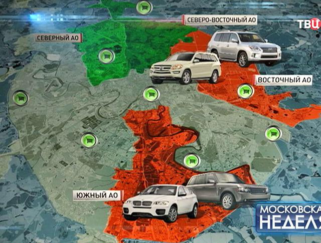 Карта частоты угона автомобилей в Москве
