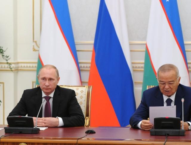 Президент России Владимир Путин и президент Узбекистана Ислам Каримов