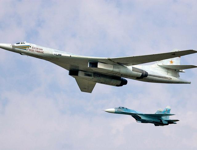 Сверхзвуковой стратегический бомбардировщик-ракетоносец Ту-160 и истребитель Су-27