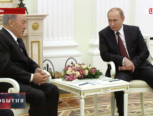 Владимир Путин и Нурсултан Назарбаев во время встречи