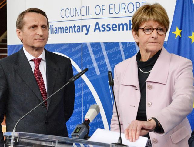 Председатель Государственной Думы РФ Сергей Нарышкин и председатель ПАСЕ Анна Брассер