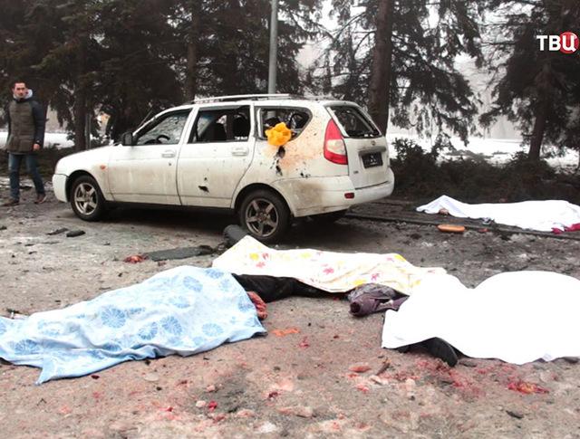 Погибшие в результате обстрела жилых кварталов Донецка