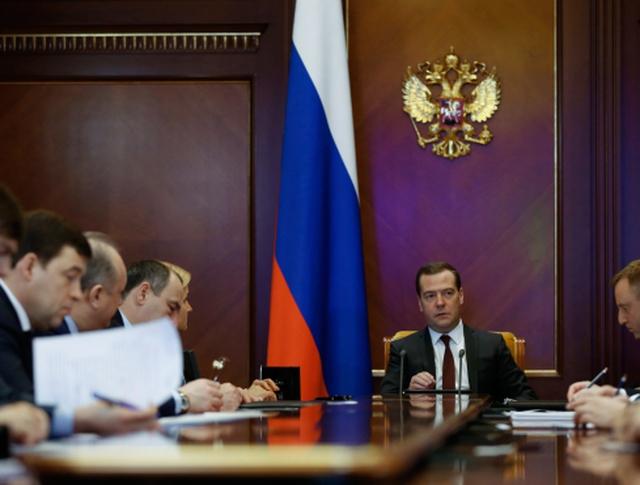 Председатель правительства РФ Дмитрий Медведев проводит селекторное совещание