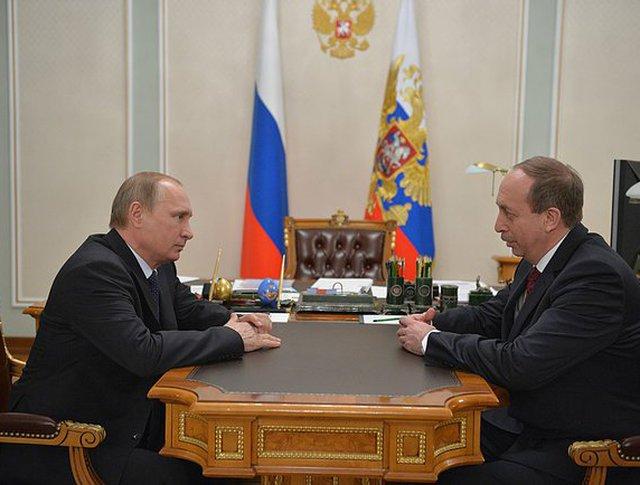 Владимир Путин и глава Еврейской автономной области Александр Левинталь