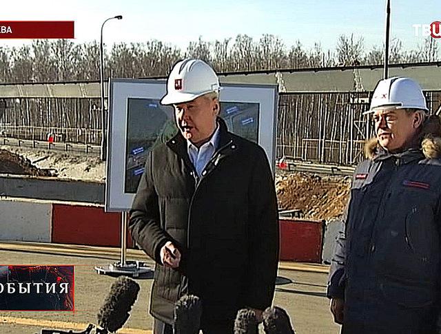 Мэр столицы Сергей Собянин на реконструкции развязки Ленинского проспекта