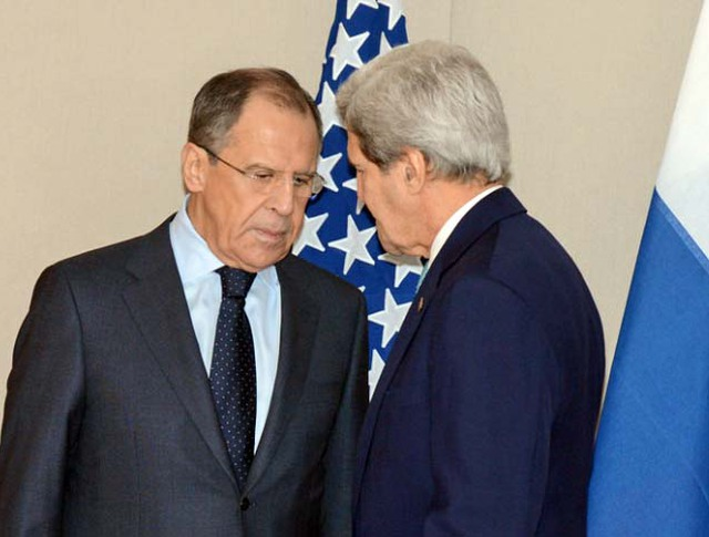 Сергей Лавров и Джон Керри  во время встречи