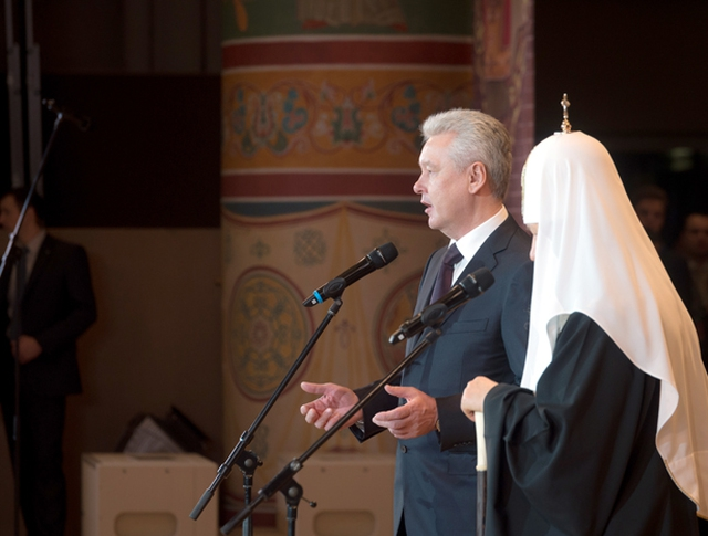 Сергей Собянин и Патриарх Кирилл  в Храме Христа Спасителя