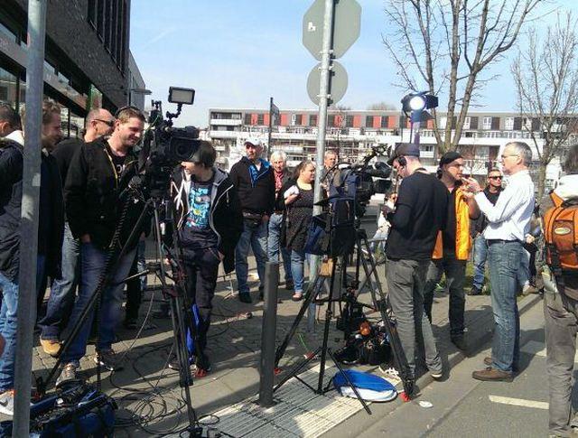Журналисты на месте столкновений во Франкфурте-на-Майне