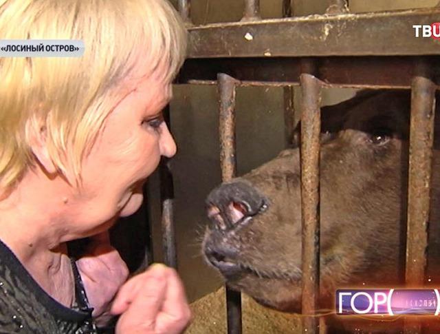 Дрессировщица Валентина Пантелеенко и медведь по кличке Малыш