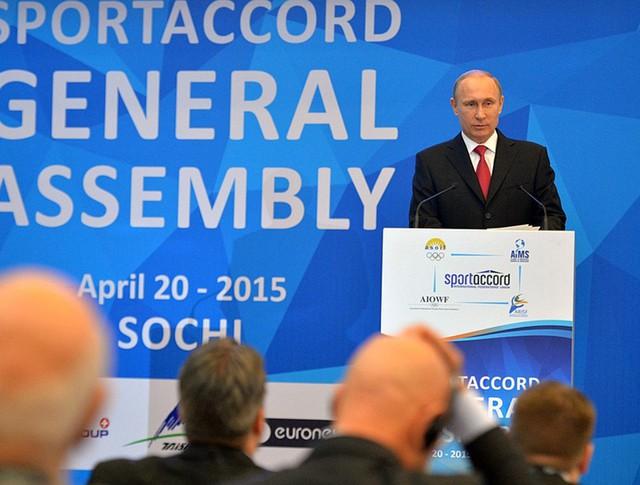 Владимир Путин на заседании генеральной ассамблеи Международной конвенции «СпортАккорд»
