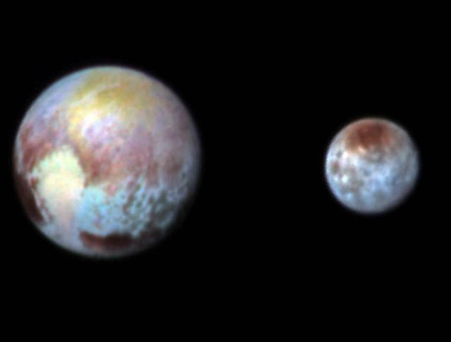 Планета Плутон и его большой спутник Харон