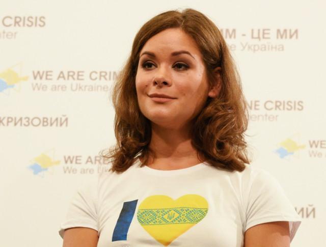 Мария Гайдар во время пресс-конференции в Киеве