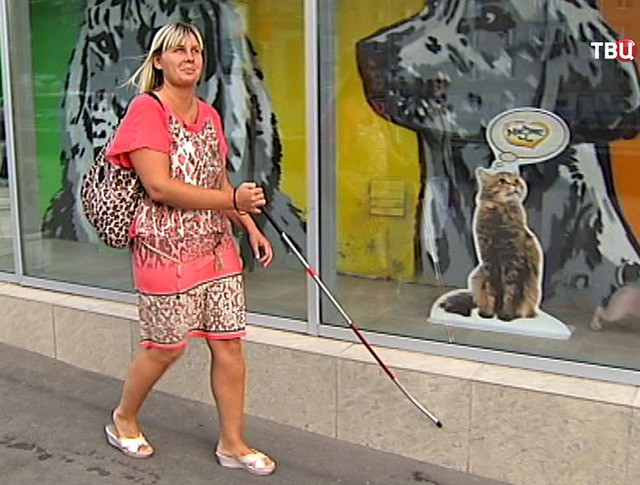 Хозяйка собаки-поводыря