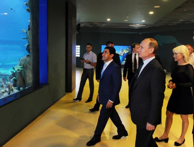 Президент России Владимир Путин и мэр Москвы Сергей Собянин во время осмотра океанариума