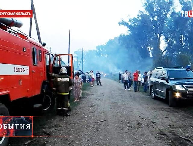 Пожарная служба МЧС на месте возгорания