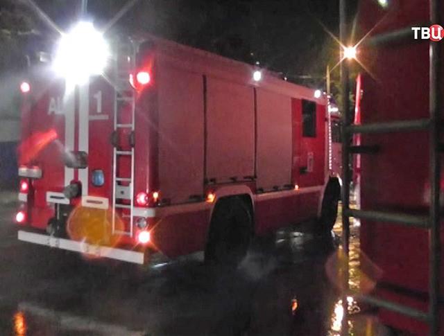 Пожарные машины на месте возгорания в ульяновском СИЗО