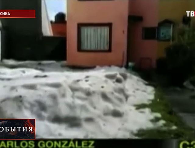 Последствие града на севере Мексики
