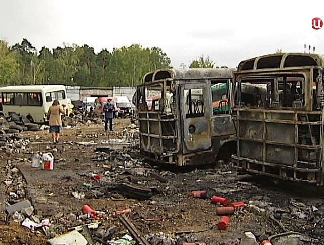 Сгоревшие микроавтобусы