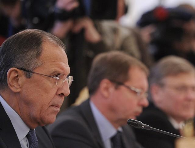 Министр иностранных дел РФ Сергей Лавров во время встречи с генеральным секретарем ОБСЕ