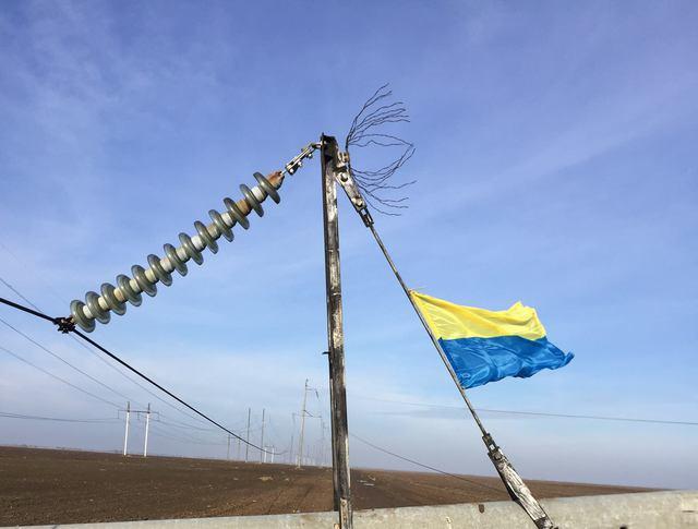 Повреждение ЛЭП на границе Крыма с Украиной