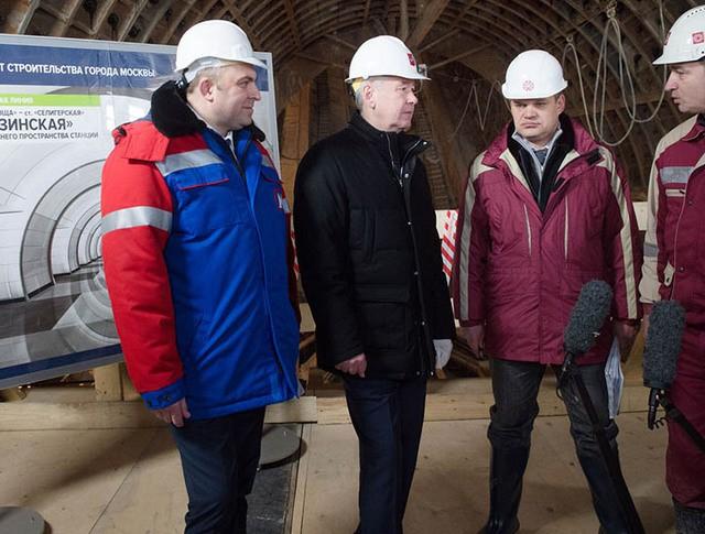Сергей Собянин осматривает строительство северного участка Люблинско-Дмитровской линии метро