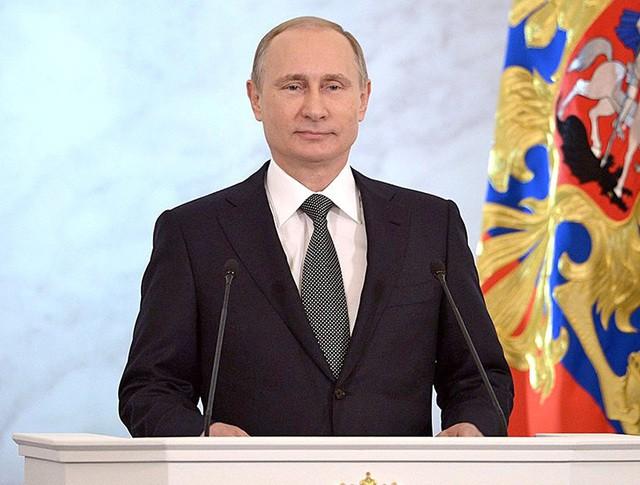 Президент России Владимир Путин во время оглашения послания Федеральному Собранию