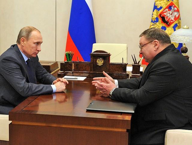 Президент России Владимир Путин и губернатор Ивановской области Павел Коньков