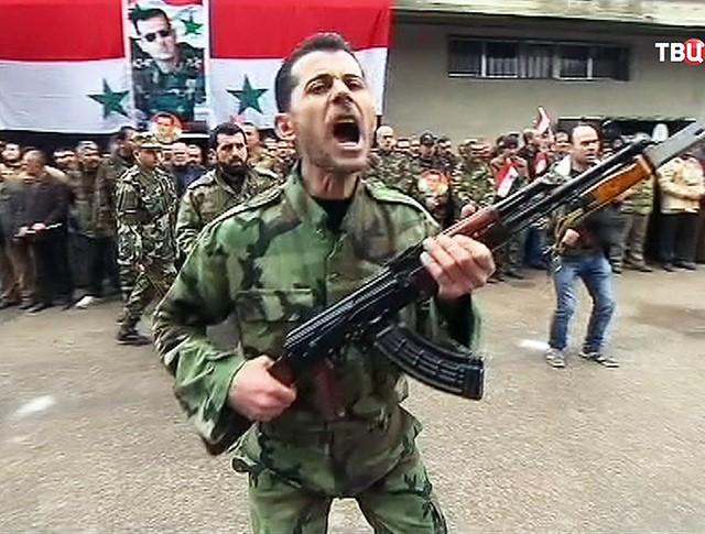 Бойцы народной армии Сирии