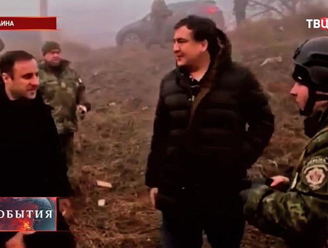 """Михаил Саакашвили во время посещения батальона """"Шторм"""" ВС Украины"""