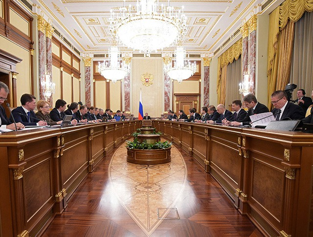 Председатель правительства России Дмитрий Медведев проводит заседание кабинета министров