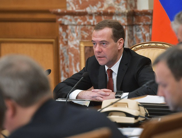 Председатель правительства РФ Дмитрий Медведев проводит заседание кабинета министров