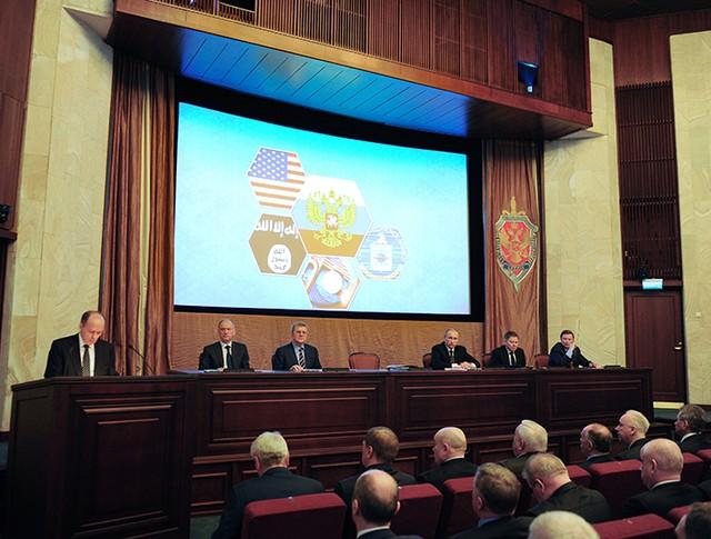 Президент России Владимир Путин на заседании коллегии ФСБ в Москве