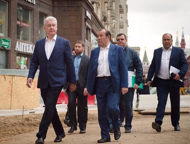 Сергей Собянин осмотрел ход реконструкции Тверской улицы