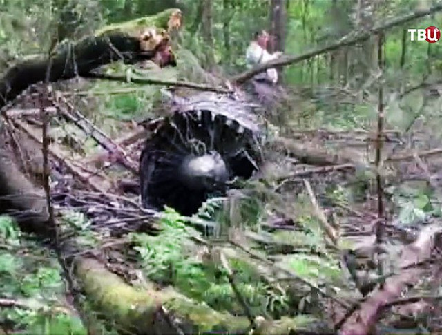 Место крушения истребителя Су-27 в Подмосковье