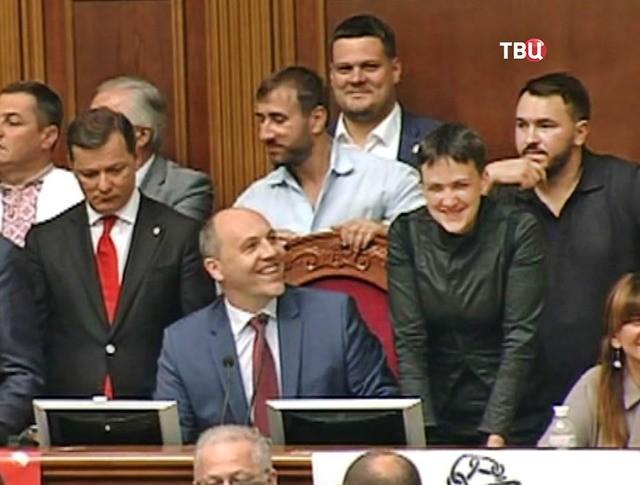 Олег Ляшко, Андрей Парубий и Надежда Савченко