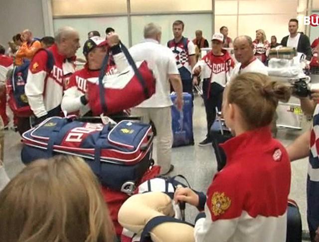 Российские спортсмены в аэропорту Рио-де-Жанейро