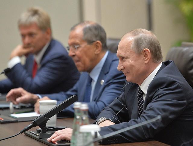 Президент России Владимир Путин во время встречи с президентом США Бараком Обамой в Ханчжоу