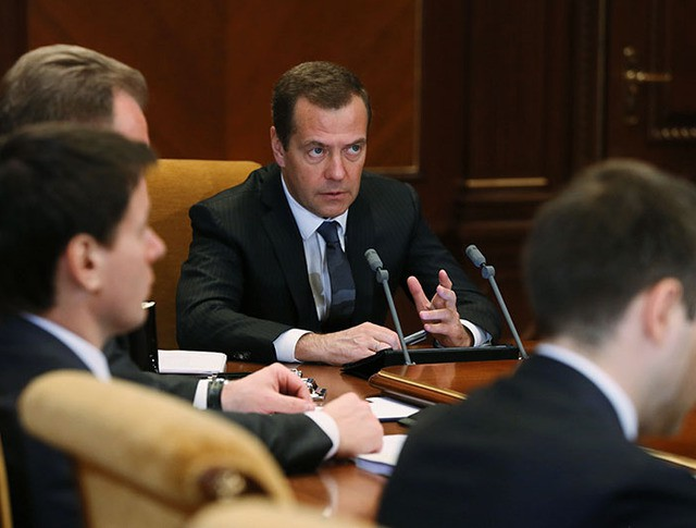 Председатель правительства РФ Дмитрий Медведев проводит заседание президиума Совета при президенте РФ
