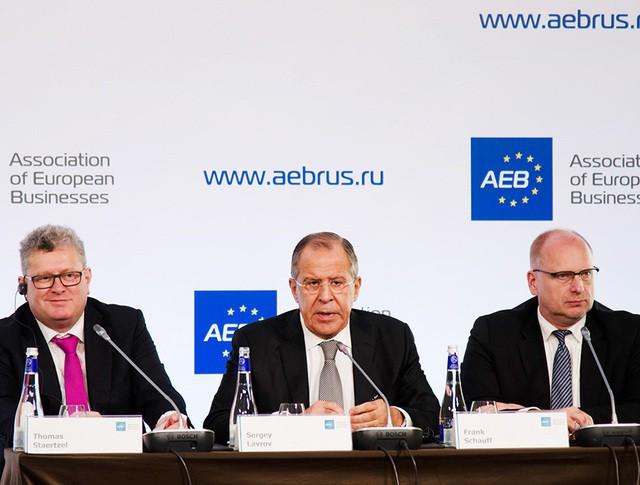 Сергей Лавров на встрече с европейскими бизнесменами в Москве