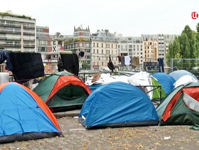 Палаточный городок мигрантов во Франции