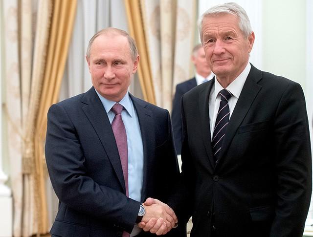 Президент России Владимир Путин и генеральный секретарь Совета Европы Турбьерн Ягланд